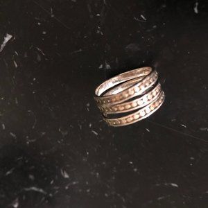 Anna Beck three tier ring, silver and gold